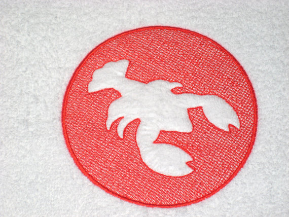 Lobster Embroidered Hand Towel by busybeeembroidery