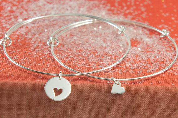 Bangle Bracelet Set, Sterling Silver Braclets, Mother Daughter Bracelets, Friendship Bracelets, Adjustable Bangle by PeaceandCharmJewelry