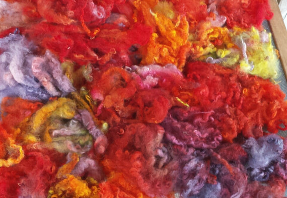 Fleece sale buy 3 get 1 free hand dyed Poppy locks curls 2 oz. by oldsheep
