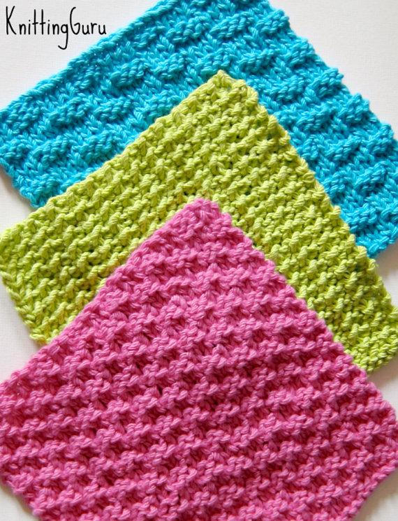 6 Knit Dishcloth Patterns Tutorials – E-book PDF – Fast Easy Ecofriendly DIY – Instant Download by KnittingGuru