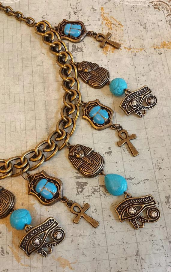 On Sale Big Bold Collage Necklace Set, Egyptian, Eye of Horus, Scarab, Pharaoh, Turquoise Blue, Ankh by HandmadebyTinaB