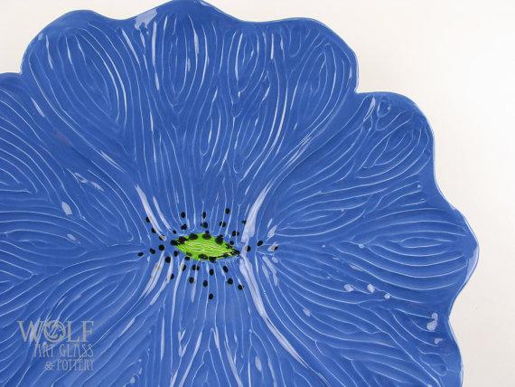 Ceramic Wall Art Poppy Flower Home Decor Blue Poppy by wolfartglass