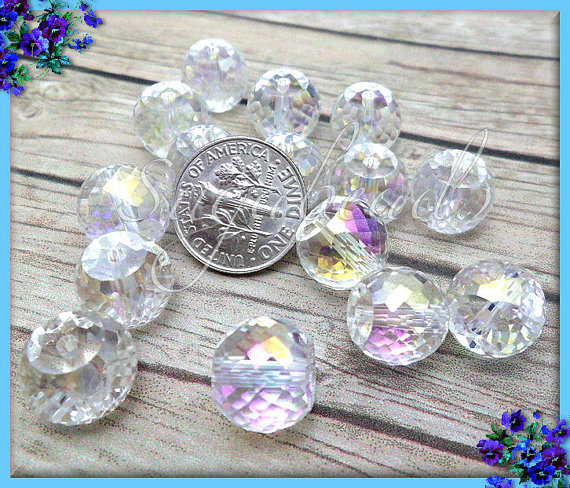 14 Pretty Clear AB Multi Faceted Crystal Beads 12mm by sugabeads