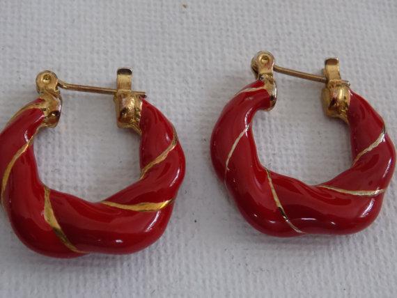 Vintage earrings, glossy red enamel hoop stud earrings, statement earrings, red jewelry, vintage by denise5960
