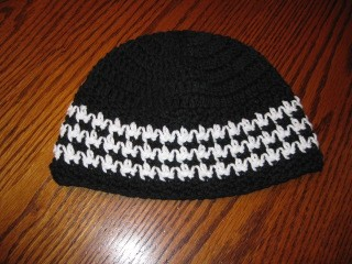 Black and White Skullcap beanie by Crochetandmore