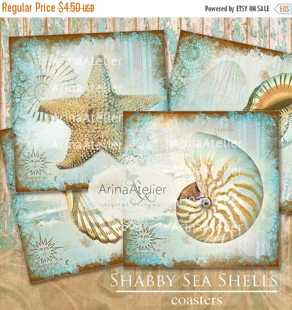 SALE 30% OFF – COASTERS Shabby Sea Shells – Digital Collage Coasters – Digital Maritime Tags – Nautical Images – Scrapbooking Backgrounds – by arinaatelierDigital