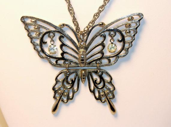 Vintage Butterfly Pendant Rafaella Signed Hinged Rhinestone by 4dollsintime
