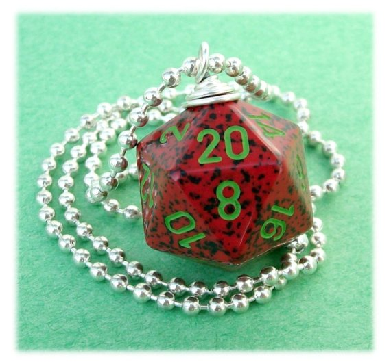 D20 Dice Pendant – Strawberry – Red Green Black Geek Gamer DnD Role Playing RPG – Paw & Claw Designs by pawandclawdesigns