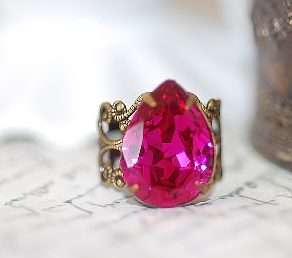 FREE SHIPPING Cherry Pear Swarovski glass Jeweled Ring crystal pink fuschia pink sparkle adjustable Filigree Bronze Cocktail Ring Bold by crushjewels