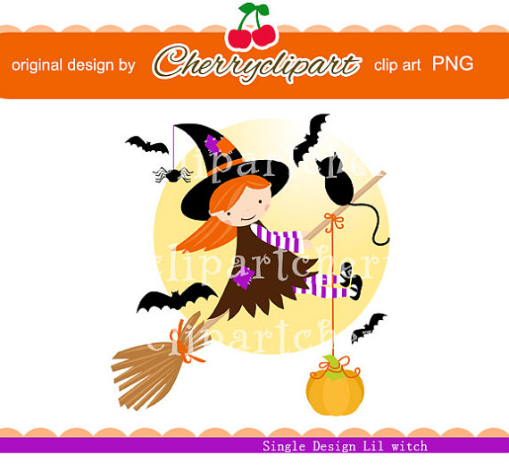 Halloween Cute Lil Witch digital clip art for -Personal and Commercial Use – paper crafts, card making, scrapbooking by Cherryclipart
