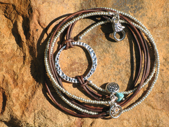 Boho Western – Endless Leather and Silver, Stack Bracelet and / or Necklace by fleurdesignz