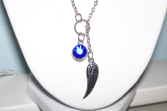 Angel Wing and Sapphire Crystal Gem Lariat Necklace by WinningWreaths