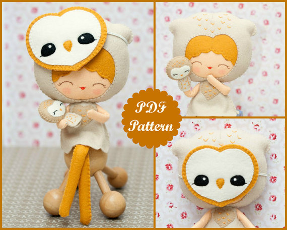 PDF Pattern. Barn owl girl with mask and puppet. by Noialand