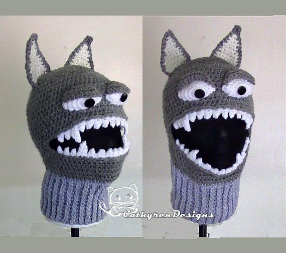 Wolf Ski Mask, 5 Sizes Child-Adult, INSTANT DOWNLOAD Crochet Pattern by CathyrenDesigns