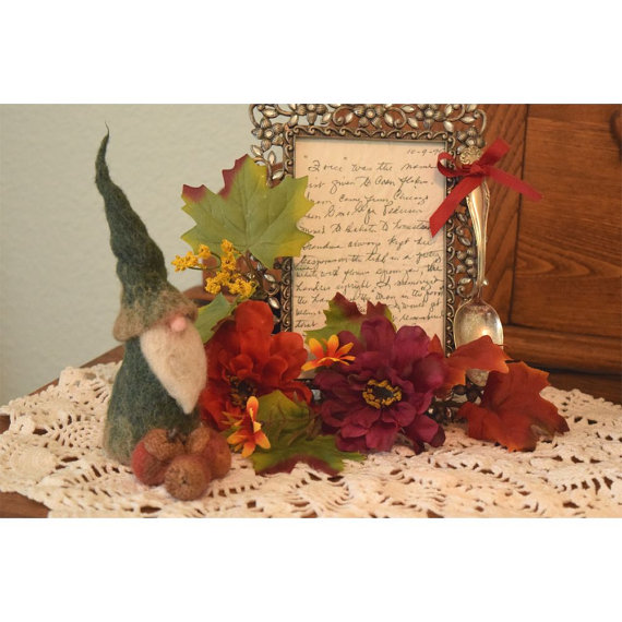 Wise and Wooly Gnome With Three Felted Acorns by all4fiberarts