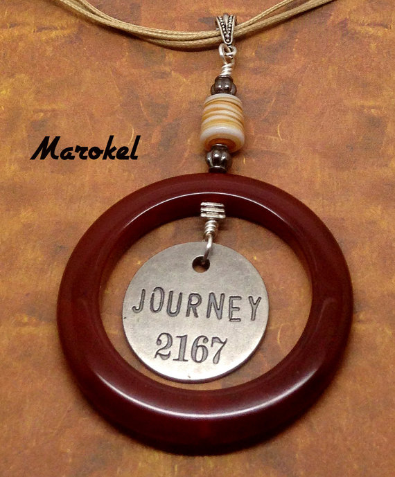Journey Token Necklace Red Agate ring Silver Brick Red Tan Cord by marokel