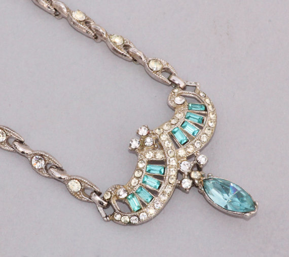 EXQUISITE Designer Aqua Turqoise Blue Rhinestone Necklace,Tennis Link Necklace,Crystal Rhinestone,Pave Paved,Silver Aquamarine Blue,Dovetail by hangingbyathread1