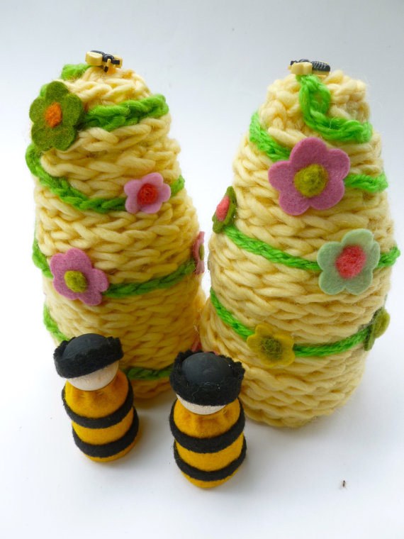 Beehive with peg doll bee Waldorf inspired honeycomb buzz by greenmountain