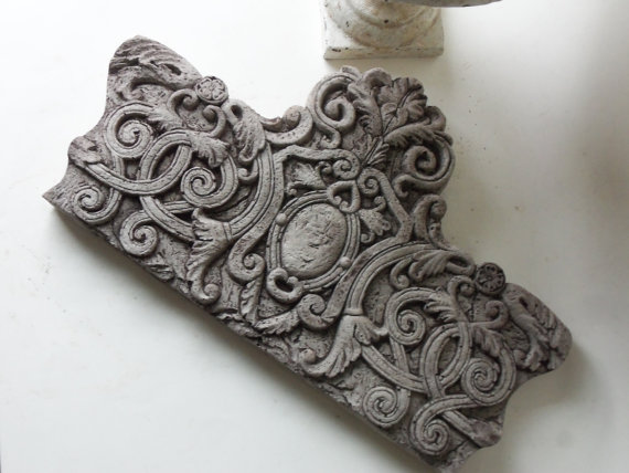 cement vine pediment tile by unpotpourri