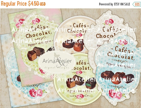 SALE 30% OFF – TAGS, Labels and Circles 2.5 inch – Chocolat et Cafes – Digital Collage Sheet – Digital Collage Chocolat – French Patisserie by arinaatelierDigital