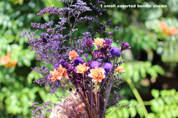 Brazilian Hill flowers-Small bunch of assorted Dried flowers-Purple & Peach Wedding flowers by teresab123