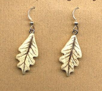 Oak leaf tree dangle earrings by moosupvalleydesigns