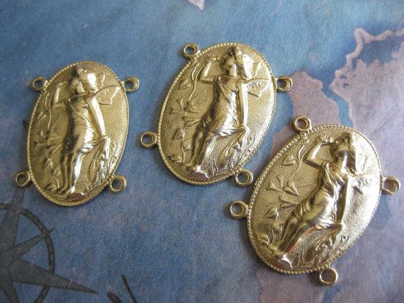 2 PC Raw Brass Cupid Cameo Link – OO07 by mermaidsdowry