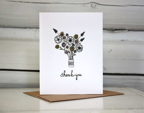 Thank you card set – Flowers in a Tin Can by sloeginfizz