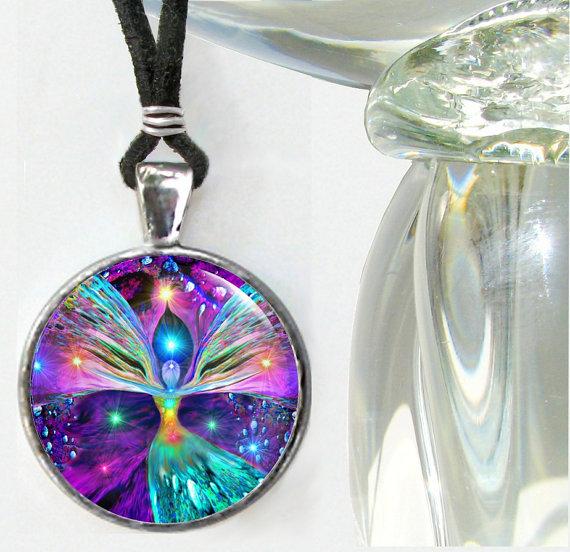 Chakra Art, Angel Necklace, Reiki Healing, Angel Pendant by primalpainter