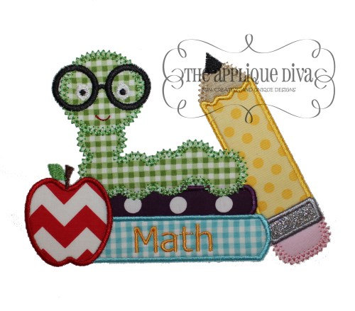 Back to School Bookworm Embroidery Design Machine Applique by theappliquediva