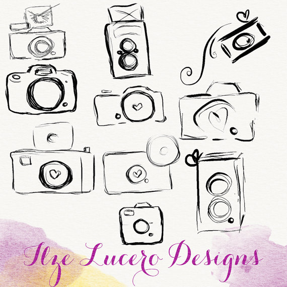 PNG camera doodle clip art, overlays, digital embellishments by IlzesDesigns