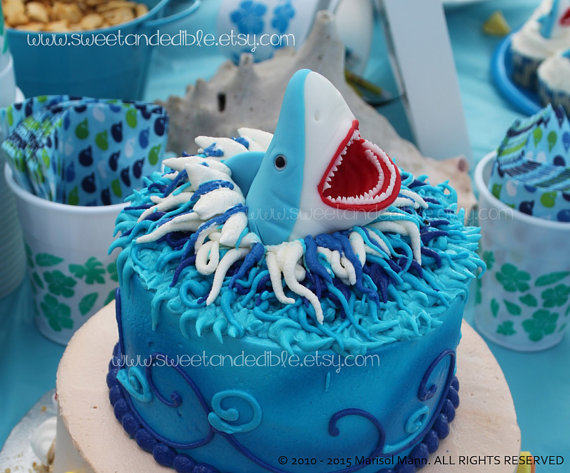 LARGE SHARK CAKE ToPPER. Edible and Amazing by SWEETandEDIBLE