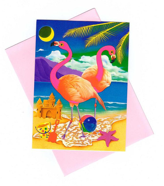 Lisa Frank Beach Flamingos Note Card with envelope RARE Vintage 90's by CollectorsWarehouse