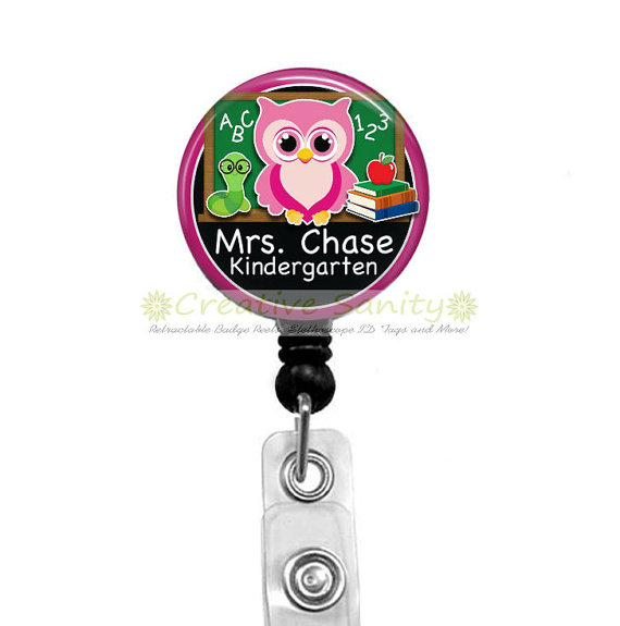 Personalized Teacher Retractable Badge ID Holder, Personalized Owl, Choice of Colors, Choice of Badge Reel, Carabiner, Lanyard or Steth ID Tag by CreativeSanity