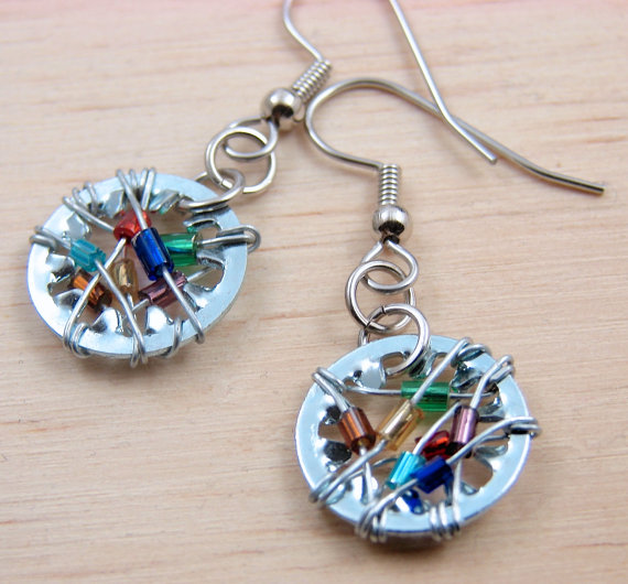 Steampunk Dangle Earrings Dangle Earrings Wire Wrapped Multi color Beads Hardware Jewelry Industrial by additionsstyle