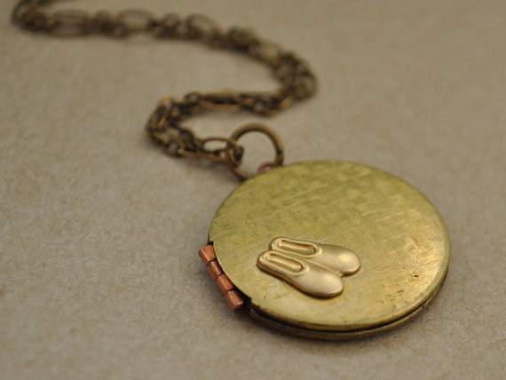 DANCE SHOES LOCKET simple everyday wear vintage brass locket necklace with tiny dance shoes charm by plasticouture