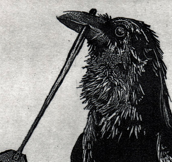 Raven artwork, Raven, crow, Tooth Fairy, etching, 5 inch by 7 inch. 2016 by RAVENSTAMPS