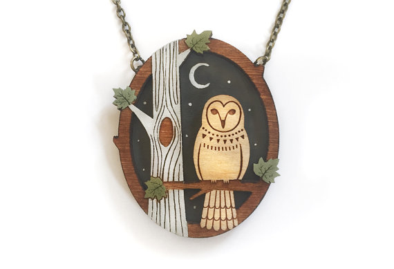 Night owl necklace ~ hand painted laser cut necklace by laylaamber