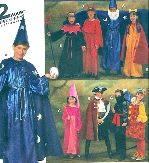 Boy Wizards robe hat sewing pattern girls Ninja pirate clown Medieval style play dress up Halloween Simplicity 9703 Sz SM to LG UNCUT by HeyChica