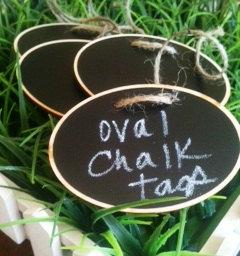 Oval Wood Chalkboard Labels – set of 4 – Basket Labels, Chalkboard Tags, Wedding Chalkboards, Rustic Wedding by BradensGrace