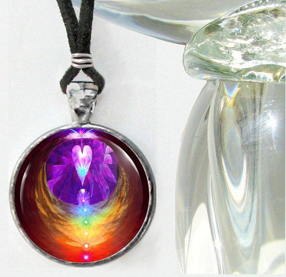 Chakra Jewelry Reiki Energy Art Angel Necklace Rainbow Heart Unique Jewelry by primalpainter