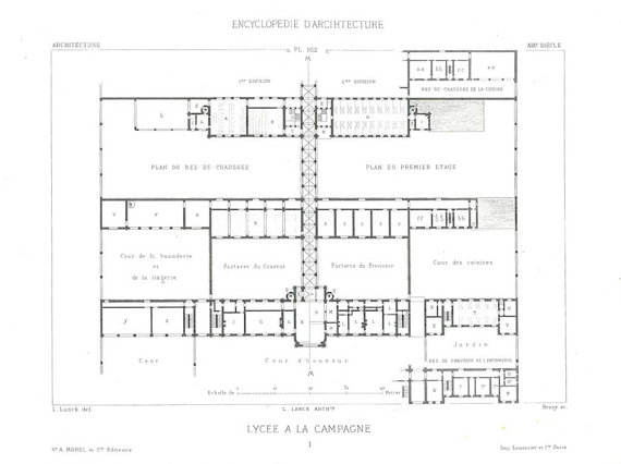 1873 Vintage Architectural Print Floor Plan, French Architecture, Black and White by CarambasVintage
