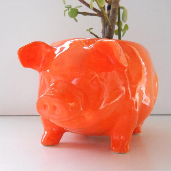 Ceramic Large Pig Planter Vintage Design in Orange by fruitflypie