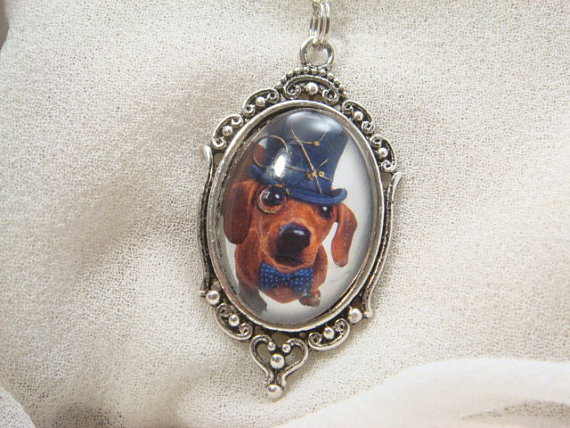 Mischievious Victorian Doxie Dog Glass Cameo Necklace by FairyTaleFantasies