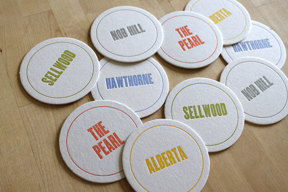 PORTLAND Letterpress Neighborhood Coasters (Pack of 10) by moontreepress