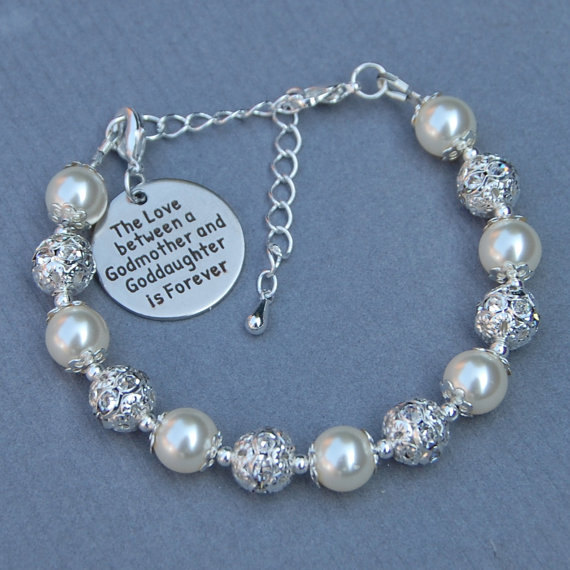 Godmother Goddaughter Gift, Godmother GoddaughterJewelry, Goddaughter Bracelet, Phrase Jewelry, Gift for Godmother by AMIdesigns