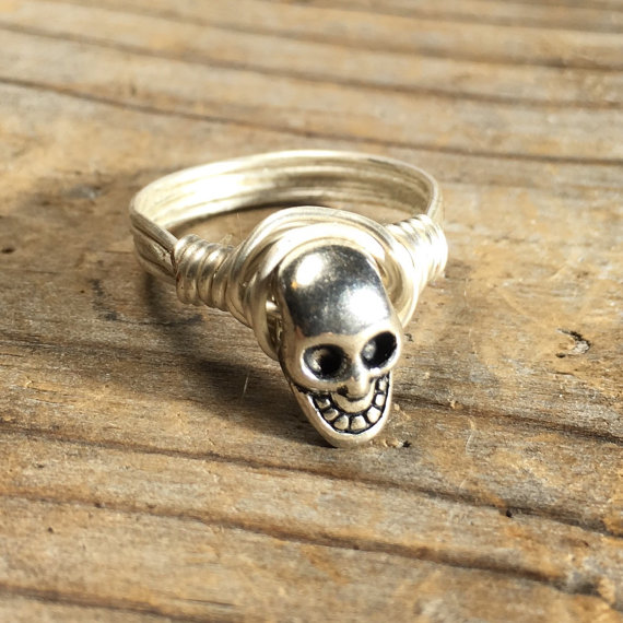 size 11.75, 11 3/4 – silver plated Skull wire wrapped ring – unisex men women teen girl boy punk goth rocker jewelry by MySoulCanDance
