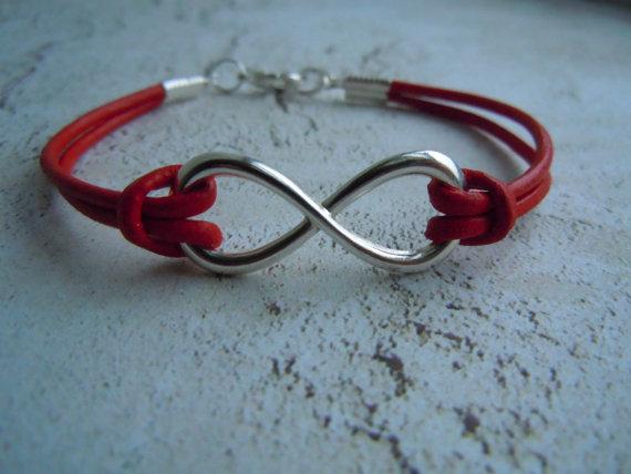 Infinity Bracelet, Leather Bracelet, Red Infinity, Black Infinity, Silver Infinity, Unisex, Infinity Jewelry, Gift For Her, Birthday Gift by BohemienneBelle