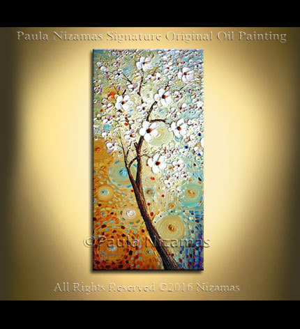 Large Wall Art tree Painting Landscape Oil Acrylic on Canvas Large Gift Modern Home Decor Wall Art Painting blooming tree cherry white by Artcoast