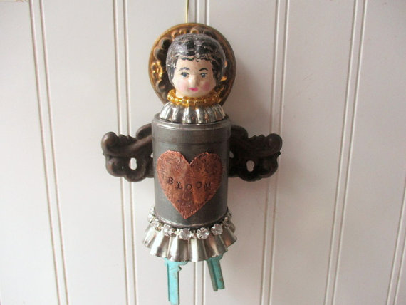 Mixed media Assemblage angel upcycled vintage metals tins copper and brass reliquary folk art doll by hopeandjoystudios